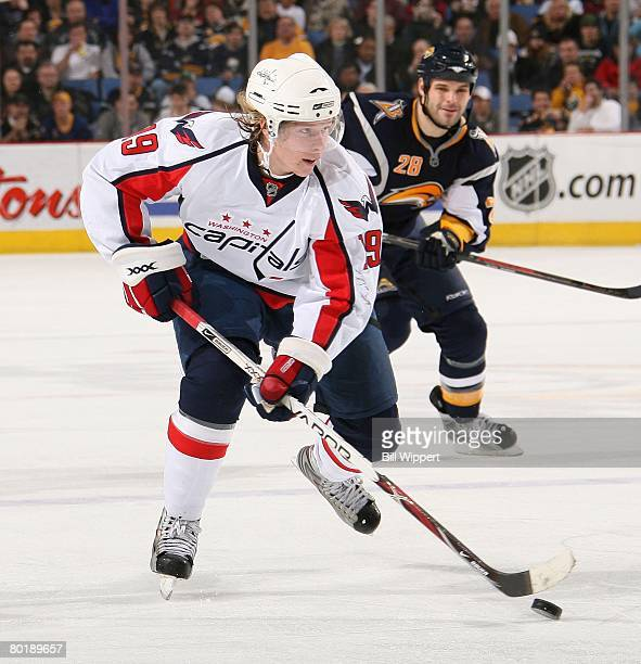 Nicklas Backstrom of the Washington Capitals skates against the Buffalo Sabres on March 5, 2008 at HSBC Arena in Buffalo, New York.
