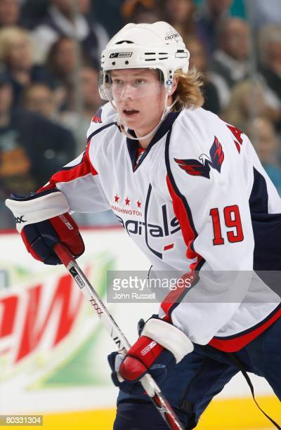 Nicklas Backstrom of the Washington Capitals skates against the Nashville Predators on March 18 2008 at the Sommet Center in Nashville Tennessee