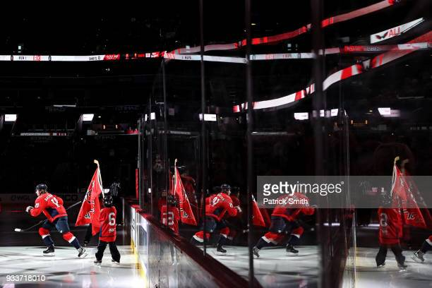 Nicklas Backstrom of the Washington Capitals takes the ice before playing against the New York Islanders during the first period at Capital One Arena...