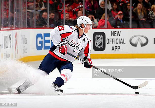 Nicklas Backstrom of the Washington Capitals takes the puck in the first period against the New Jersey Devils on February 6 2016 at Prudential Center...