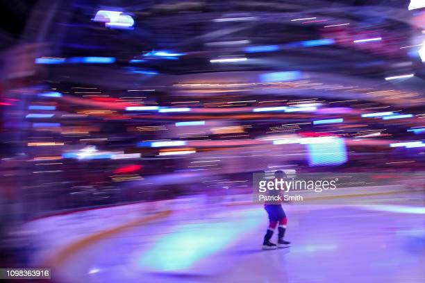 Nicklas Backstrom of the Washington Capitals warms up before playing against the San Jose Sharks during the first period at Capital One Arena on...