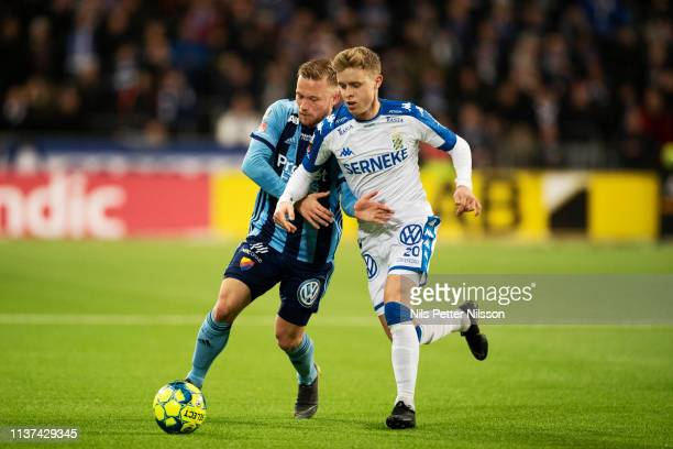Nicklas Barkroth of Djurgardens IF and Victor Wernersson of IFK Goteborg during the Allsvenskan match between Djurgardens IF and IFK Goteborg at...