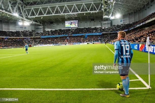 Nicklas Barkroth of Djurgardens IF prepares to take a corner kick during an Allsvenskan match between Djurgardens IF and GIF Sundsvall at Tele2 Arena...