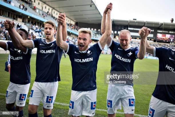 Nicklas Barkroth of IFK Norrkoping and his teammates celebrate the victory after the Allsvenskan match between Malmo FF and IFK Norrkoping at...