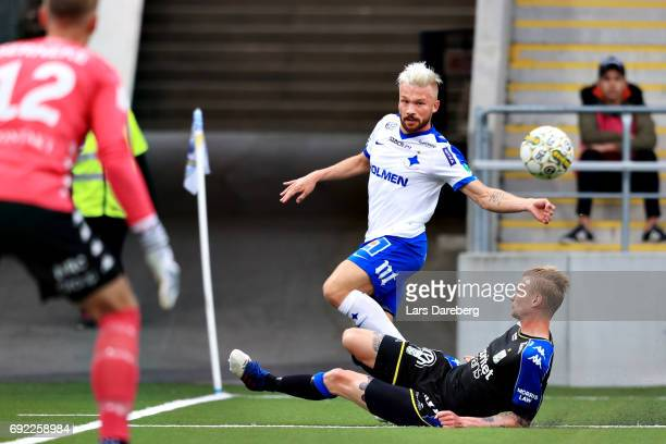 Nicklas Barkroth of IFK Norrkoping and Sebastian Eriksson of IFK Goteborg during the Allsvenskan match between IFK Norrkoping and IFK Goteborg on...