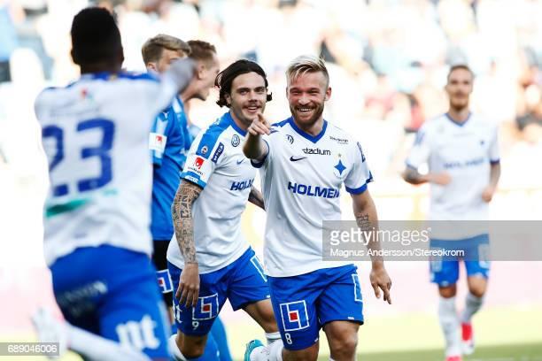 Nicklas Barkroth of IFK Norrkoping celebrates after scoring 21 during the Allsvenskan match between IFK Norrkoping and Halmstad BK at Ostgotaporten...