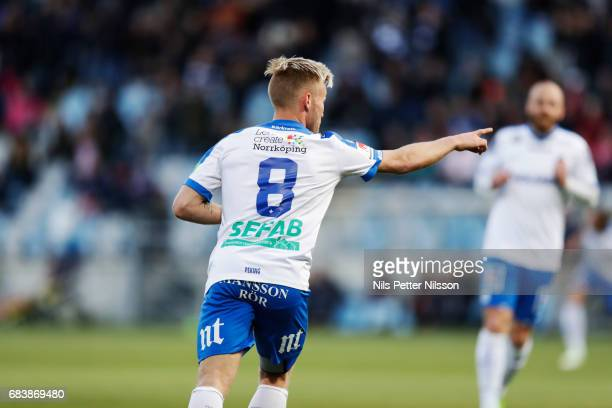 Nicklas Barkroth of IFK Norrkoping celebrates after scoring to 20 during the Allsvenskan match between IFK Norrkoping and Kalmar FF at Ostgotaporten...