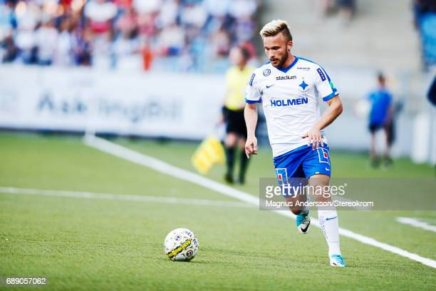 Nicklas Barkroth of IFK Norrkoping during the Allsvenskan match between IFK Norrkoping and Halmstad BK at Ostgotaporten on May 27 2017 in Norrkoping...
