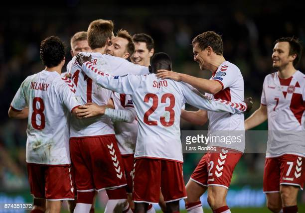 Nicklas Bendtner and Christian Eriksen of Denmark celebrate after the 51 goal during the FIFA 2018 World Cup Qualifier PlayOff Second Leg match...