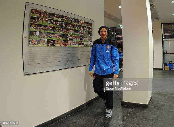 Nicklas Bendtner of Arsenal arrives in the players entrance before the FA Cup fourth round match between Arsenal and Coventry City at Emirates...