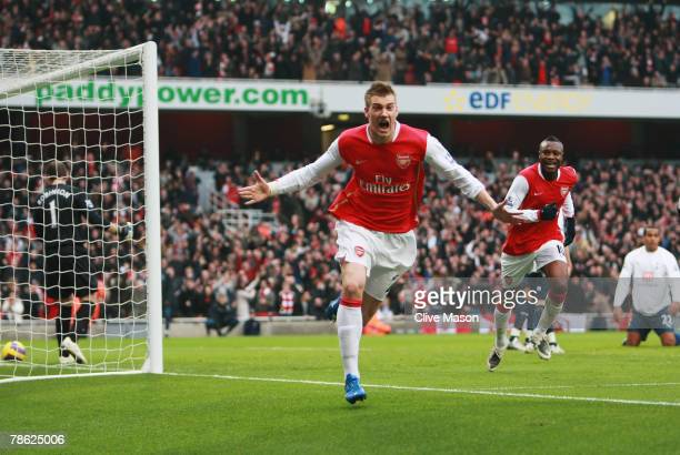 Nicklas Bendtner of Arsenal celebrates as he scores their second goal during the Barclays Premier League match between Arsenal and Tottenham Hotspur...