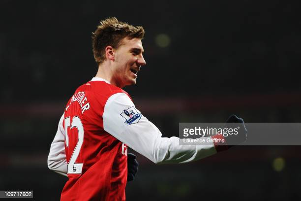 Nicklas Bendtner of Arsenal celebrates scoring a hat trick during the FA Cup sponsored by EON 5th Round Replay match between between Arsenal and...