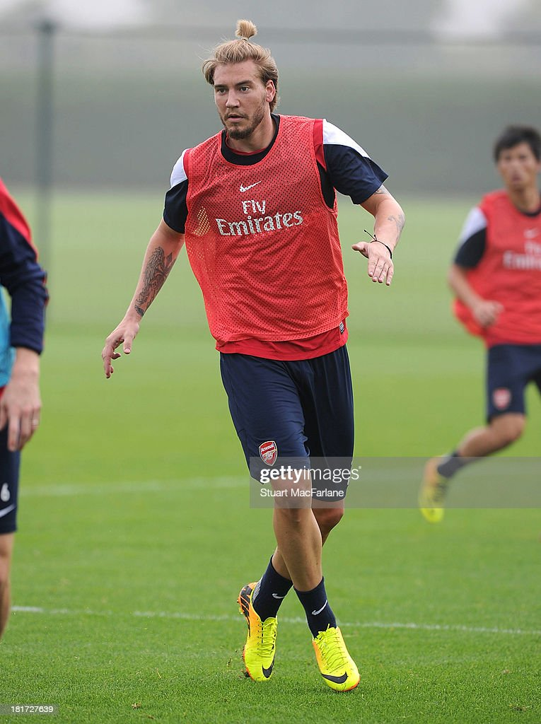 Nicklas Bendtner of Arsenal during a training session at London Colney on September 24, 2013 in St Albans, England.