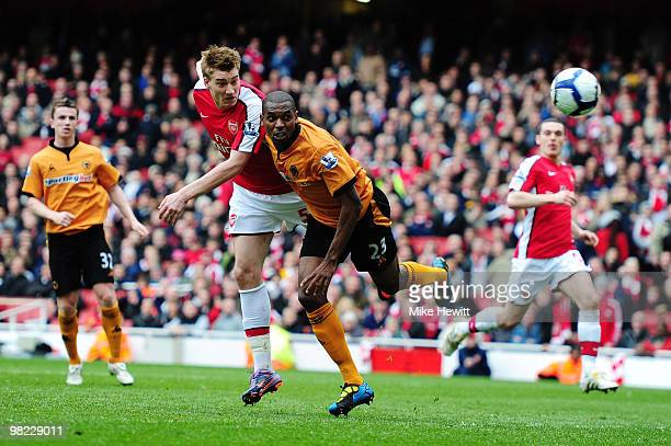 Nicklas Bendtner of Arsenal scores a late winner during the Barclays Premier League match between Arsenal and Wolverhampton Wanderers at the Emirates...