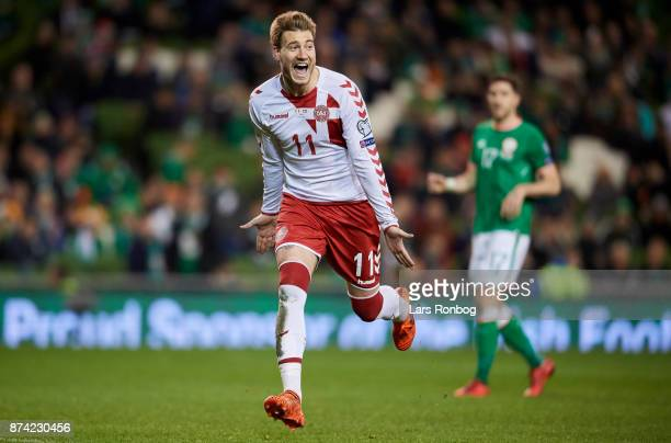 Nicklas Bendtner of Denmark celebrates after scoring their fifth goal during the FIFA 2018 World Cup Qualifier PlayOff Second Leg match between...