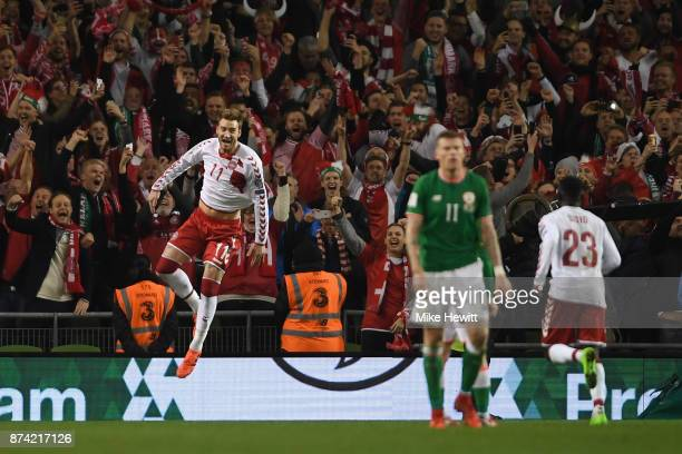 Nicklas Bendtner of Denmark celebrates scoring his sides fifth goal with his Denmark team mates during the FIFA 2018 World Cup Qualifier Play-Off:...
