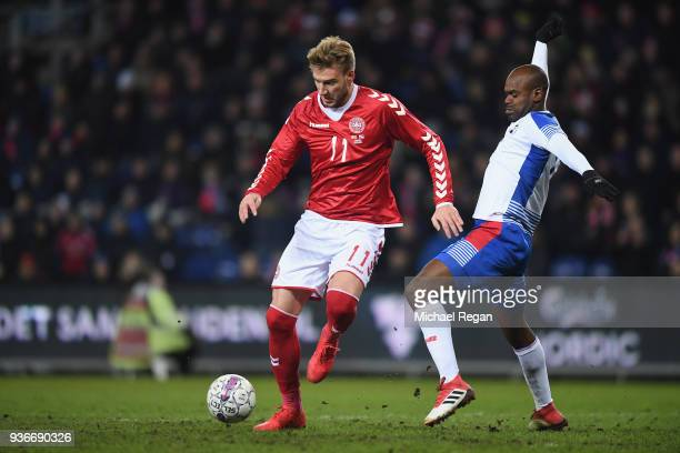 Nicklas Bendtner of Denmark in action with Adolfo Machado of Panama during the International Friendly match between Denmark and Panama at Brondby...