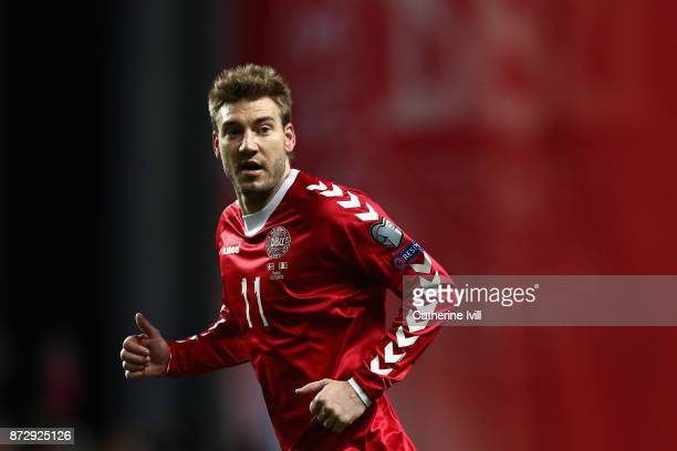 Nicklas Bendtner of Denmark looks on during the FIFA 2018 World Cup Qualifier PlayOff First Leg between Denmark and Republic of Ireland at Telia...
