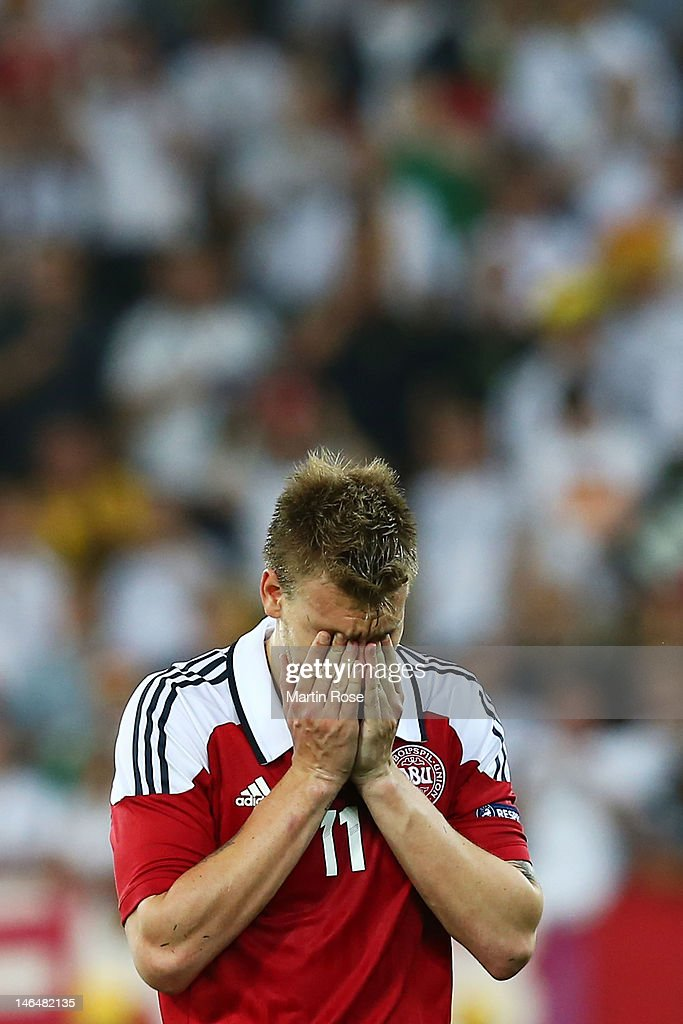 L'VIV, UKRAINE - JUNE 17: Nicklas Bendtner of Denmark puts his head in his hands after the UEFA EURO 2012 group B match between Denmark and Germany at Arena Lviv on June 17, 2012 in L'viv, Ukraine.