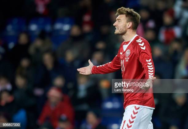 Nicklas Bendtner of Denmark shows frustration during the International friendly match between Denmark and Panama at Brondby Stadion on March 22 2018...