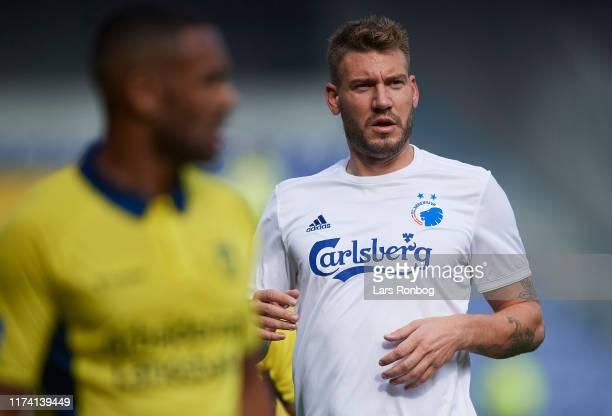 Nicklas Bendtner of FC Copenhagen looks on during the Danish 3F Superliga match between Brondby IF and FC Copenhagen at Brondby Stadion on October 6,...