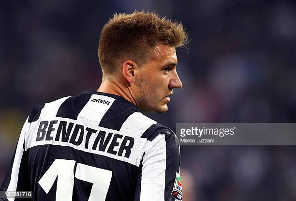 Nicklas Bendtner of FC Juventus looks on during the Serie A match between FC Juventus v AC Chievo Verona at Juventus Arena on September 22, 2012 in...
