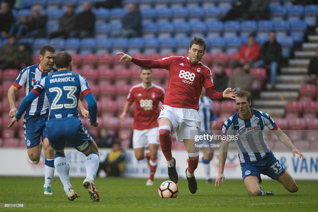 Nicklas Bendtner of Nottingham Forest and Stephen Warnock of Wigan Athletic in action during the Emirates FA Cup Third Round match between Wigan Athletic and Nottingham Forest at the DW Stadium on January 7, 2017 in Wigan, England (Photo by Nathan Stirk/Getty Images).