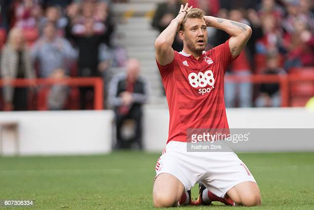 Nicklas Bendtner of Nottingham Forest reacts on during the Sky Bet Championship match between Nottingham Forest and Norwich City on September 17 2016...