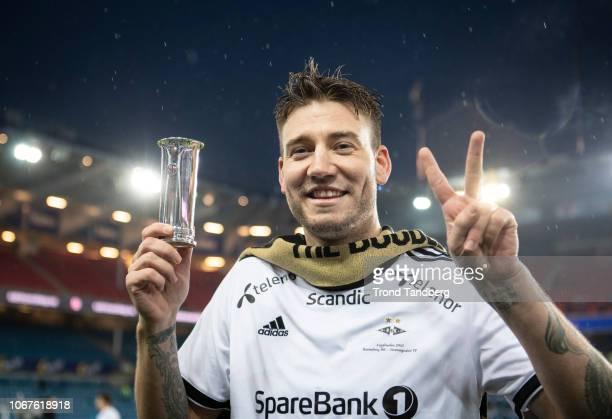 Nicklas Bendtner of Rosenborg celebrates victory after Norwegian Cup Final between Rosenborg v Stromsgodset at Ullevaal Stadion on December 2, 2018...