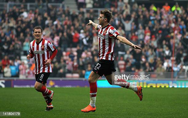 Nicklas Bendtner of Sunderland celebrates his goal during the Barclays Premier League match between Sunderland and Queens Park Rangers at Stadium of...