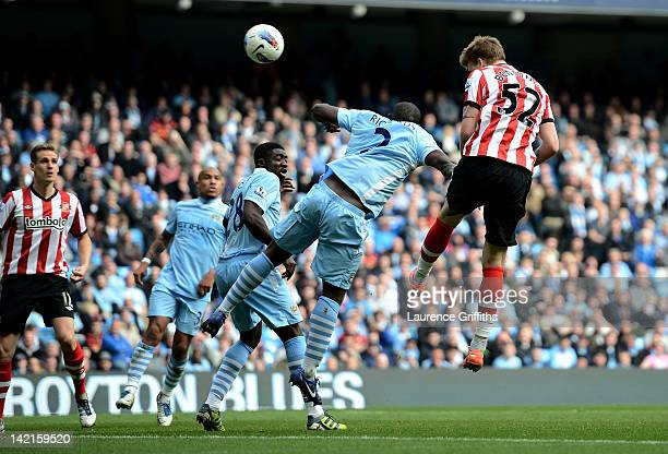Nicklas Bendtner of Sunderland scores his team's second goal during the Barclays Premier League match between Manchester City and Sunderland at the...