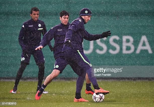 Nicklas Bendtner of Wolfsburg in action during a training session prior to the UEFA Champions League match against Gent at Volkswagen Arena on March...