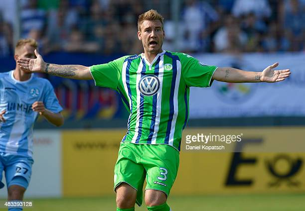 Nicklas Bendtner of Wolfsburg reacts during the DFB Cup First Round match between Stuttgarter Kickers and VfL Wolfsburg at GAZIStadion on August 9...