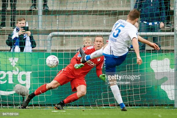 Nicklas Helenius of OB Odense kick penalty goal for 10 at Goalkeeper Hannes Thor Halldorsson of Randers FC during the Danish Alka Superliga match...