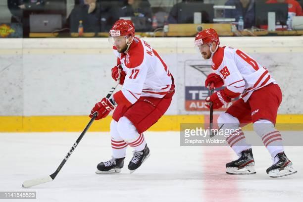 Nicklas Jensen of Denmark and Mikkel Bodker of Denmark during the Austria v Denmark - Ice Hockey International Friendly at Erste Bank Arena on May 5,...