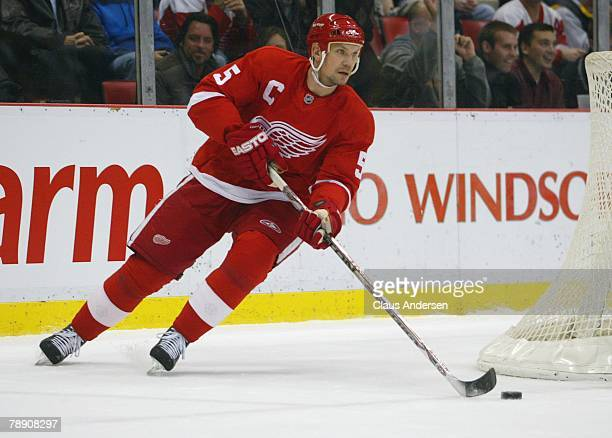 Nicklas Lidstrom of the Detroit Red Wings carries the puck in a game against the Minnesota Wild on January 10 2008 at the Joe Louis Arena in Detroit...