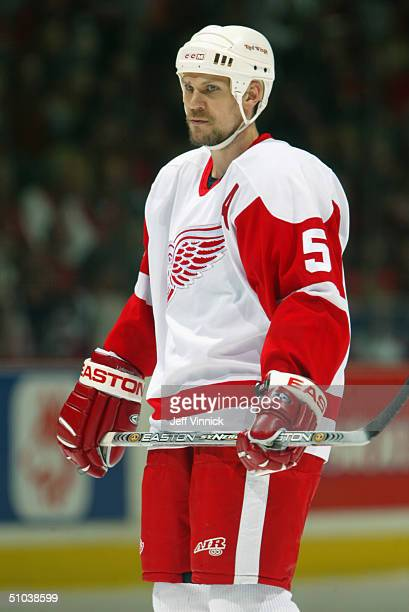 Nicklas Lidstrom of the Detroit Red Wings looks on during Game 6 Round 2 of the NHL Western Conference Semifinals against the Calgary Flames at the...