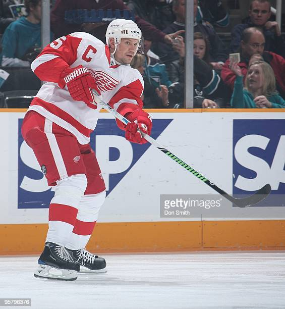 Nicklas Lidstrom of the Detroit Red Wings passes the puck during an NHL game against the San Jose Sharks on January 9, 2010 at HP Pavilion at San...
