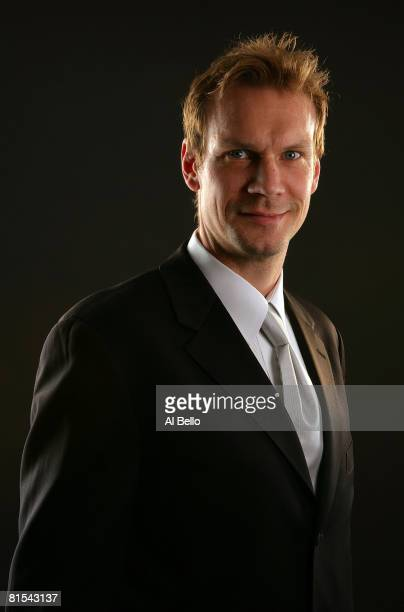 Nicklas Lidstrom of the Detroit Red Wings poses for a portrait prior to the 2008 NHL Awards at the at the Elgin Theatre on June 12, 2008 in Toronto,...