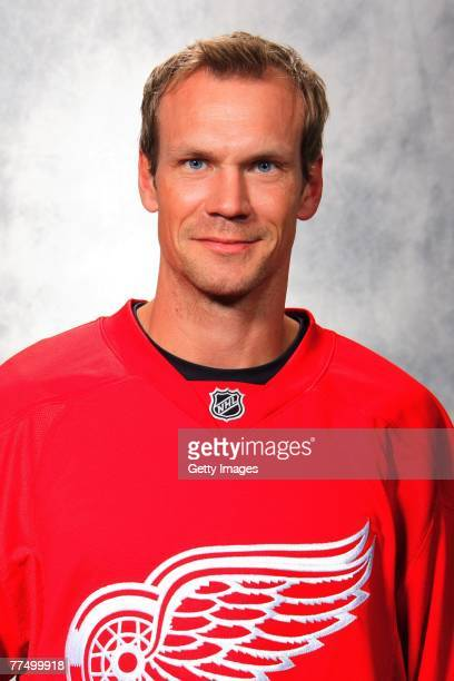 Nicklas Lidstrom of the Detroit Red Wings poses for his 2007 NHL headshot at photo day in Detroit Michigan