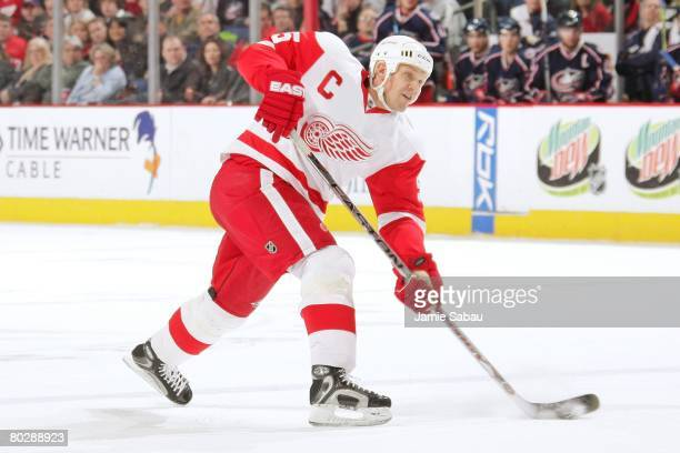 Nicklas Lidstrom of the Detroit Red Wings shoots the puck against the Columbus Blue Jackets on March 16, 2008 at Nationwide Arena in Columbus, Ohio.