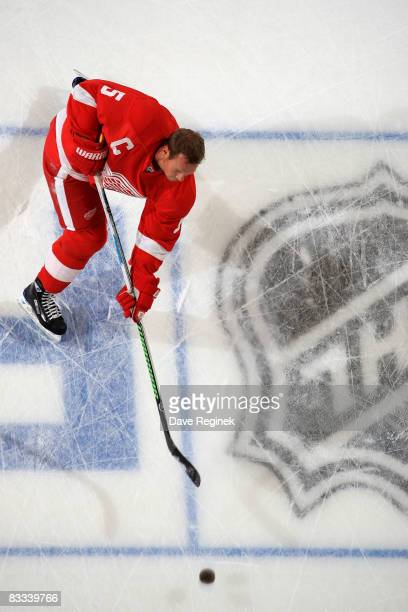 Nicklas Lidstrom of the Detroit Red Wings shoots the puck during warm ups at a NHL game vs the New York Rangers on October 18 2008 at Joe Louis Arena...
