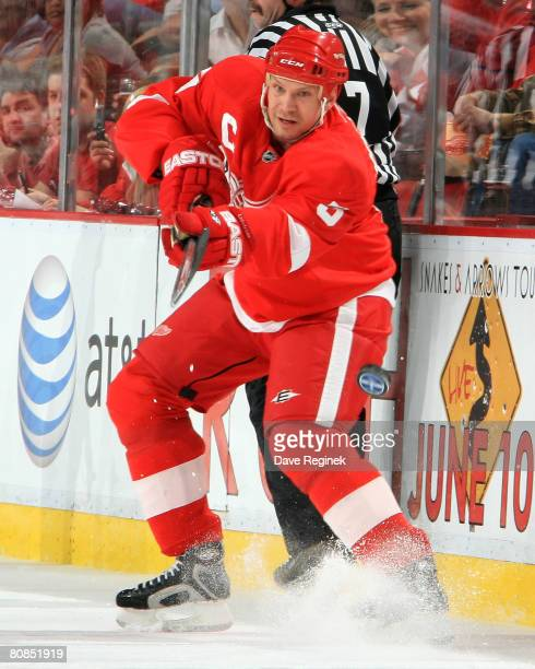 Nicklas Lidstrom of the Detroit Red Wings shoots the puck towards the Colorado Avalanche goal during game one of the Western Conference Semifinals of...