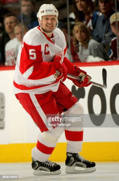Nicklas Lidstrom of the Detroit Red Wings skates against the Colorado Avalanche in Game Three of the Western Conference Semifinals of the 2008 NHL...