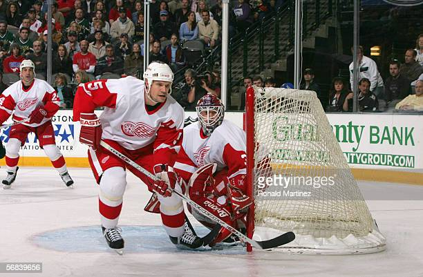 Nicklas Lidstrom of the Detroit Red Wings skates against the Dallas Stars at the American Airlines Center on January 28, 2006 in Dallas, Texas. The...