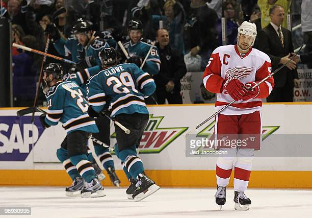 Nicklas Lidstrom of the Detroit Red Wings skates off the ice after losing to the San Jose Sharks in Game Five of the Western Conference Semifinals...