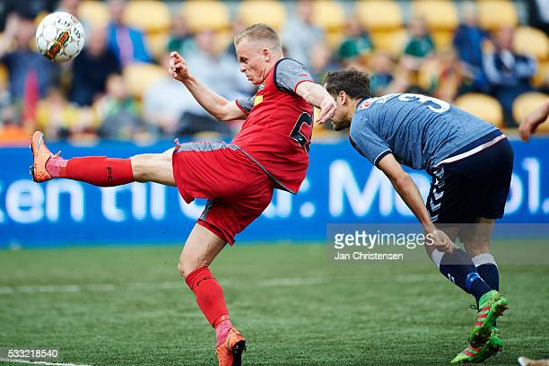 Nicklas Mouritsen of FC Nordsjalland in action during the Danish Alka Superliga match between FC Nordsjalland and AGF Arhus at Right to Dream Park on...