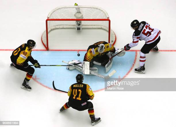 Nicklas Treutle goaltender of Germany tends net against Bo Horvat of Canada during the 2018 IIHF Ice Hockey World Championship Group B game between...