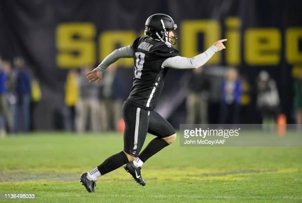 NickNovak of the Birmingham Iron celebrates after kicking a 44yard gamewinning field goal during the fourth quarter to defeat the San Diego Fleet...