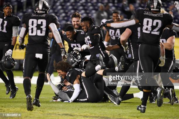 Nick Novak of the Birmingham Iron celebrates with teammates after kicking a 44yard gamewinning field goal during the fourth quarter to defeat the San...